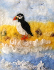Teatime (joyfeltcreations) Tags: sea seascape art beach wool wet water felted seaside sand waves felting yorkshire merinowool felt spray textile curly needle puffin scarborough splash fiber fleece fibers woolly wensleydale fibres needlefelt handfelted fffriends yorkshirecoast wetfelted nfest fiberandtextile