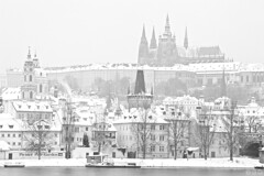 Prague Castle and Mala Strana / Prask hrad a Mal Strana (Jirka Chomat) Tags: morning bridge winter white snow tree tower