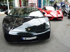 Lambo Gallardo and Ferrari Enzo. (tobibrec) Tags: paris cars race ferrari enzo vehicle bugatti lamborghini gallardo supercars combo lambo worldcars tobibrec