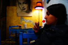 Chido one café (David A Córdova M) Tags: woman luz coffee girl azul mexico photography photo mujer foto chica shot sony centro picture lampara fotografia alpha lollipop puebla amateur paleta sillas café davidcordova deividcordova