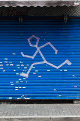 Run away (Woods | Damien) Tags: china street blue streetart store sticker shanghai bleu jingan   rue chine canonef50mmf18ii  canoneos60d