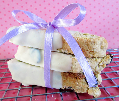 Cranberry White Chocolate Dipped Biscotti