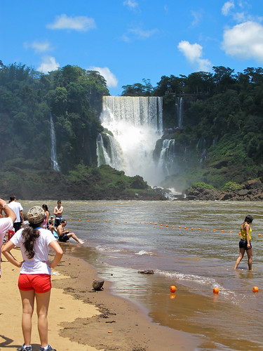 The Beach and Falls - Iguazu Falls, Argentina