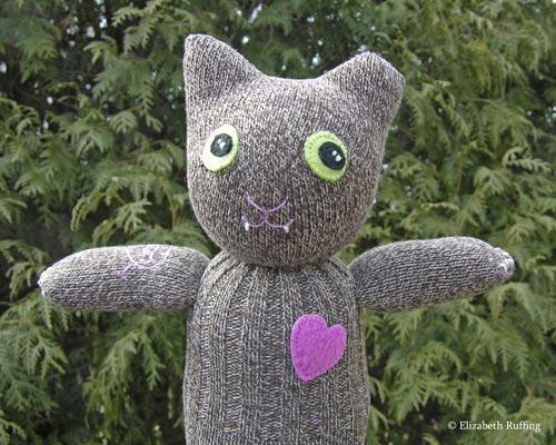 Feral Cheryl the TNR Demo Cat, sock cat by Elizabeth Ruffing