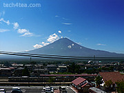 Mt Fuji with cables stretching across it