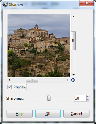 "The ""Sharpen"" dialog box in GIMP"