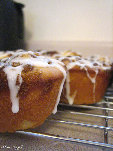 Cinnamon Roll Muffins - After Icing Closeup 2