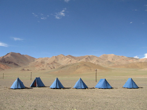 Blue sky, blue tents