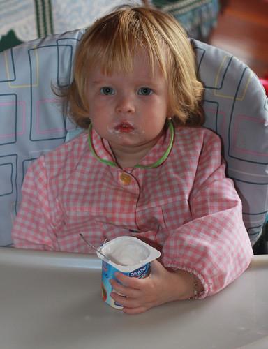 Portrait of a yogurt eater