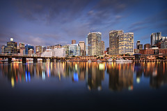 City Lights and City Nights (Xenedis) Tags: bluehour buildings city cloud darlingharbour dusk evening harbour night pyrmontbridge reflection skyline skyscrapers sydney twilight water newsouthwales nsw australia fh ig