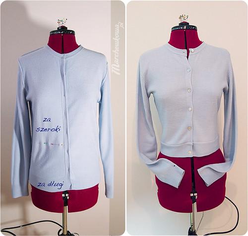 szafiarka, szycie, przeróbka swetra, tutorial, lata 50
