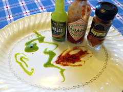 Fire Breather (fostermomster) Tags: food hot cayenne burn tabasco wasabi redpepper sauces ourdailychallenge faceusingkitchenitems