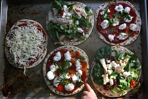 making pizzas