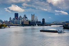 Our town (kwtracyghostship) Tags: commonwealthpa thepoint threerivers pennsylvania westernpa pa alleghenycounty pittsburgh kwtracyghostship unitedstates us monalo barge cityskyline cloudy blueskies