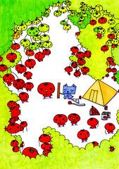 群衆絵_トマット畑と三角うさぎ