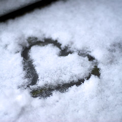 Snow heart (sandrine L.) Tags: christmas winter snow love square december heart hiver noel coeur neige decembre seasongreetings bsquare