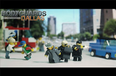 Bodyguard texas street firing 1 (Shobrick) Tags: street black cars studio grey artist texas lego crowd stock unknow tiny ba tt coats custom mp5 firing kevlar tactical uas bodyguards mp7 brickarms suitcas shobrick