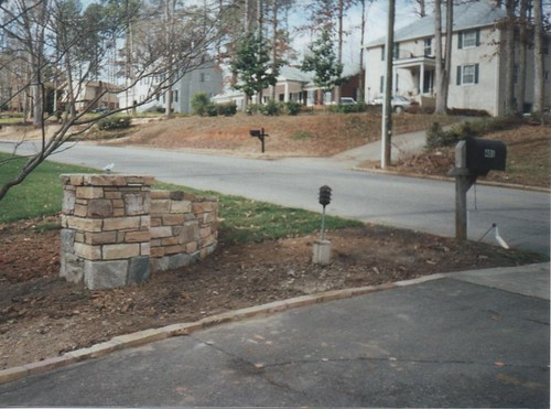stone column newly completed without lamps in Raleigh, North Carolina