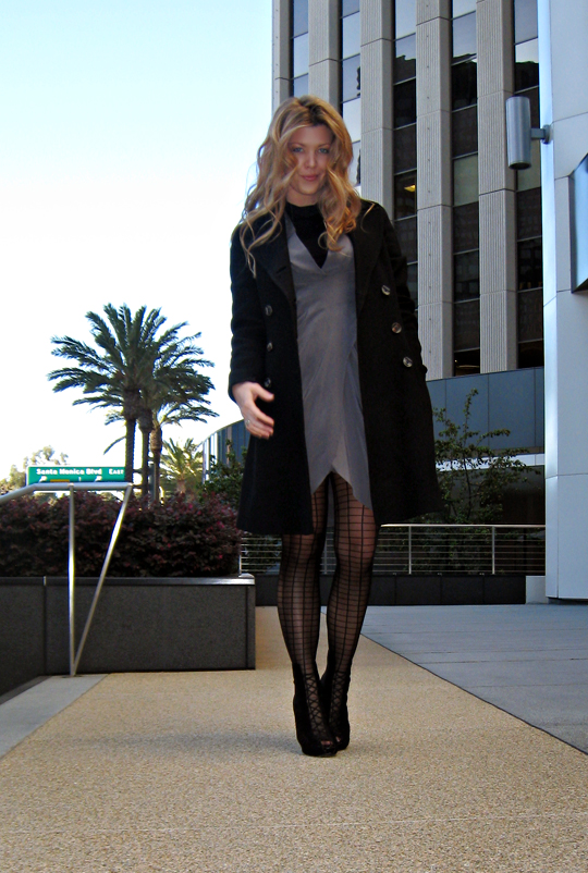 silk dress+grid pattern tights+buildings+vintage pea coat
