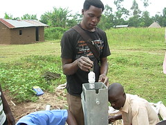 Droping of foot valve during pump installation at Bumang'ale Nursery school well