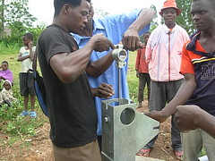Attachment of hanger pin during pump installation at Bumang'ale well