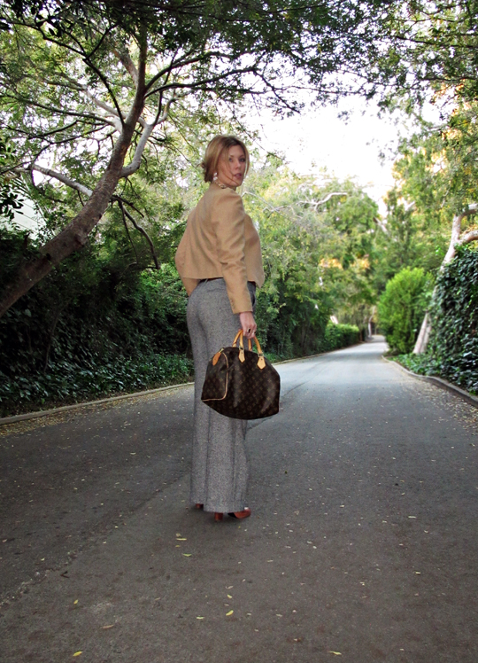 wide leg tweed pants with camel jacket and louis vuitton bag