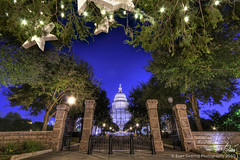 Texas Capitol From Under Christmas Tree (Evan Gearing (Evan's Expo)) Tags: christmas street holiday tree austin nikon texas sigma capitol congress 11th avenue 1020 hdr d300s evangearingphotography evansexpo