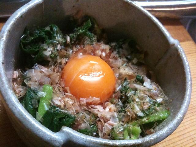 簡単おつまみ、ニラ卵黄! #jisui