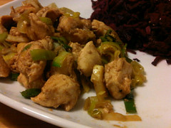 Chicken, leek and garlic stir-fry