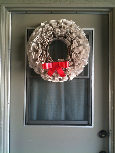 Our Holiday Wreath, made from a recycled paperback book