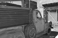 Arroyo Seco Truck- B&W Version (pam's pics-) Tags: old newmexico green truck rusty nm northernnewmexico pammorris labordayroadtrip nikond5000 denverpam arroyoseconewmexico
