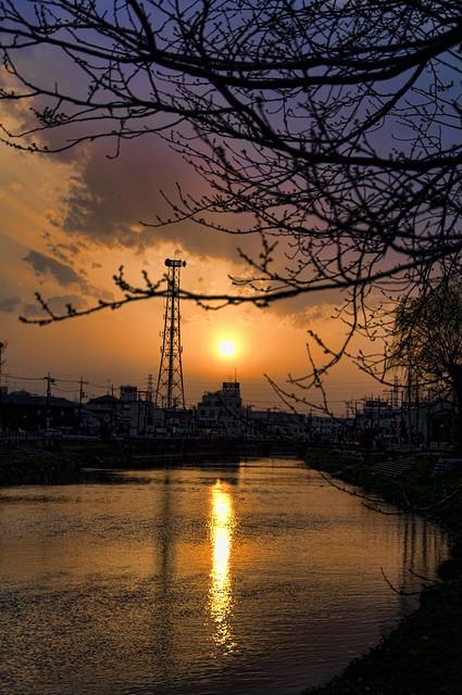杉戸の夕陽 HDR