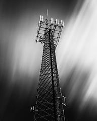 Transmitter (Andy Brown (mrbuk1)) Tags: longexposure light cloud tower lines contrast radio blackwhite central frame streaks simple 54 nd110