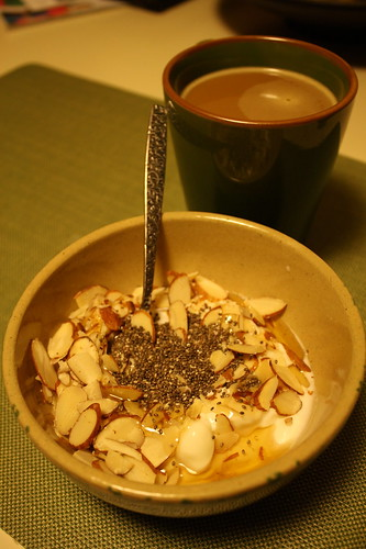 yogurt with chia seeds, almonds and honey