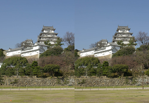 Himeji Castle (2008), stereo parallel view