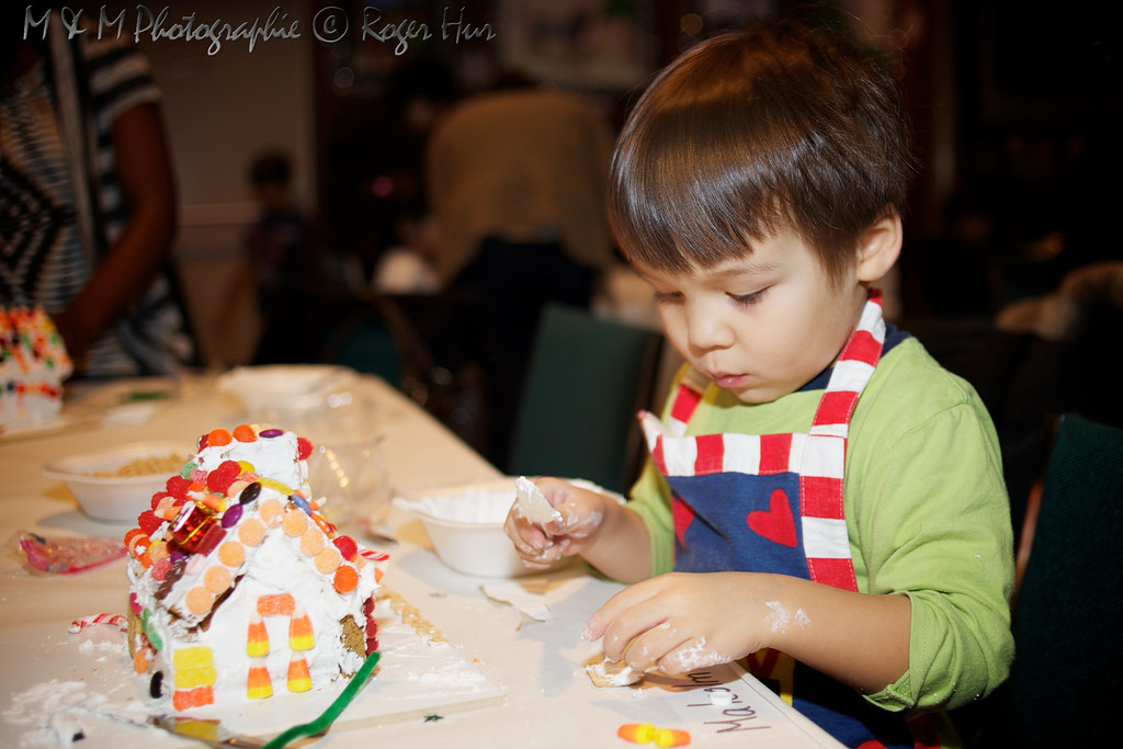 Malcolm and his gingerbread house masterpiece
