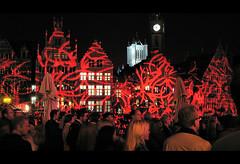 OdeGand 2009 red (Knartist) Tags: lighting street light red streets building architecture night buildings lights canal belgium belgi medieval clocktower ghent gent graslei flanders vlaanderen odegand