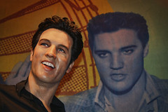 'Portrait Of The King' (New York,USA) (Mr Andy Bird) Tags: new york nyc madame portrait people sculpture music newyork celebrity art rock america photoshop canon square eos theater manhattan district united famous aaron elvis icon roll wax times states presley graceland tussauds topaz waxwork adjust cs4 1000d