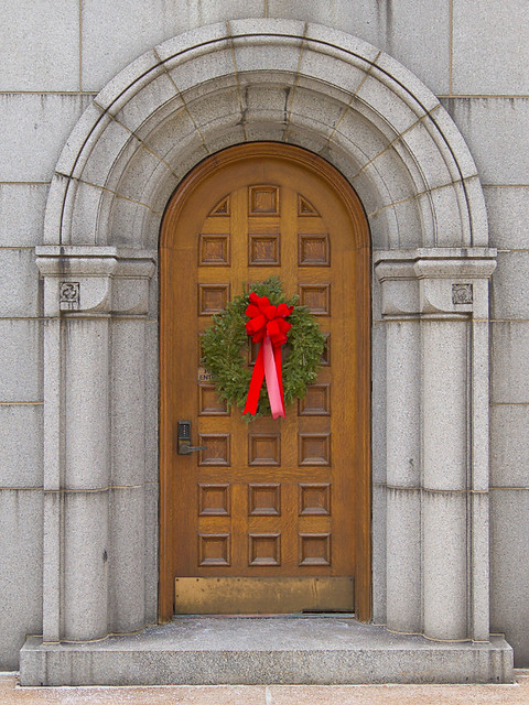 Cathedral Basilica of Saint Louis, in Saint Louis, Missouri, USA - Rectory door with Christmas wreath