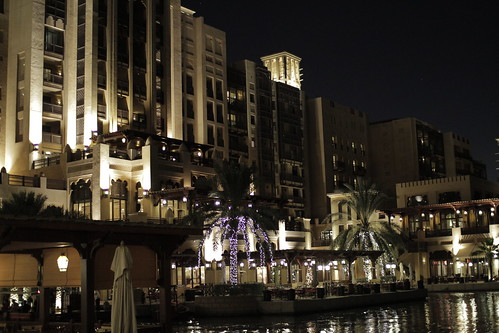 Mina Salam hotel at night
