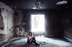 (yyellowbird) Tags: winter house snow tree abandoned window girl fire illinois cari burned leafriver