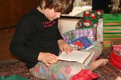 Lucas Checks Out New Books