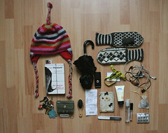 What's in my handbag (Heidi Burton / Making Strangers) Tags: hat umbrella bag keys mirror book collection gloves purse receipt mobilephone passport lipgloss catalogue handbag contents earphones mittens hairbrush harukimurakami handcream norwegianwood nailbuffer