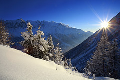 Postal Card (Feo David) Tags: sun mountain snow france montagne soleil savoie chamonix sapin haute brevent
