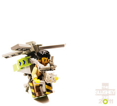 hummingbird LARV (The Slushey One) Tags: light green yellow grey one flying hummingbird lego small slush tiny slushy blades slushee helicoptor 2011 slushey