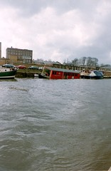 The Barge pub 1985 (Pablo York) Tags: york bar river disco pub sink sunken sunk 1985 ouse barge sinking riverouse