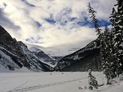 Making Tracks (njchow82) Tags: trees winter lake snow mountains cold ice clouds landscape scenic tracks glaciers blueskies lakelouise crosscountryskiing banffnationalpark canadianrockies beautifulexpression dmcfz18 njchow82