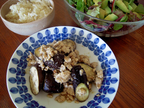 Japanese Eggplant and Chicken simmered in Miso