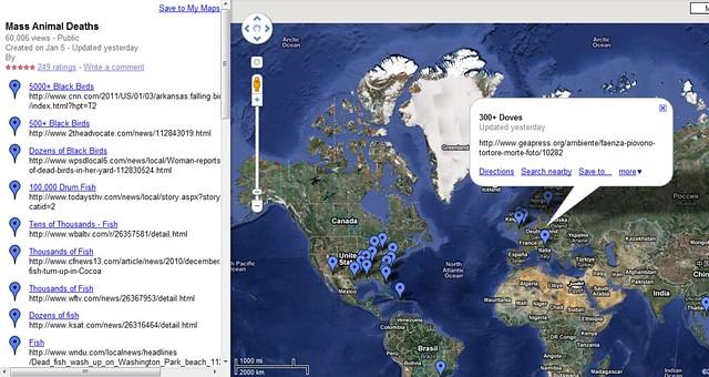 Mapa de la muerte masiva de animales