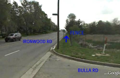 turning onto 4-lane Ironwood (via Google Earth)